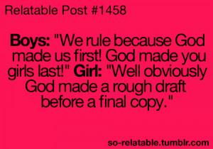 girls boys win humor jokes burn joke teen quote girl quotes funny joke ...