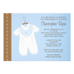Baby Boy Baptism / Christening Inviation Personalized Invitations