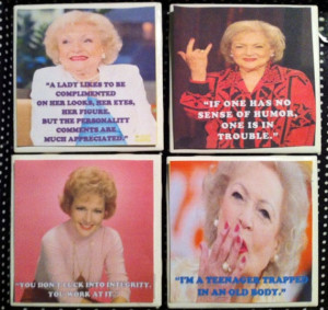 Set of 4 Betty White Coasters Golden Girls by GorgeousGlassware, $12 ...
