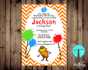 Lorax Birthday Invitation(BIRTHDAY INVITATION) Lorax Invite, the lorax ...