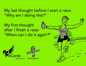 My last thought before I start a race: 'Why am I doing this?' My ...