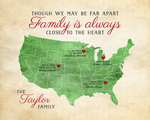 Gift for Family, Family Quote, Long Distance Family Map, Gift for ...