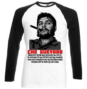 Detalles de CHE GUEVARA CUBA REVOLUTION QUOTE - BLACK SLEEVED BASEBALL ...