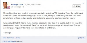 George Takei Airs News Feed Frustrations, Facebook Responds