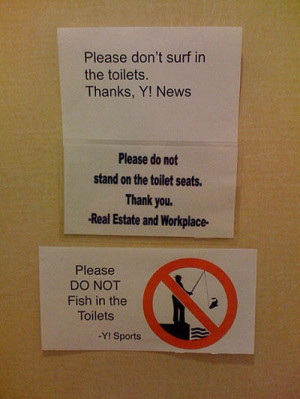 funny bathroom note yahoo