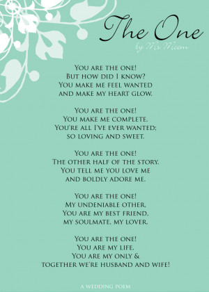 The One | A Wedding Poem | Ms Moem | Poems. Life. Etc.