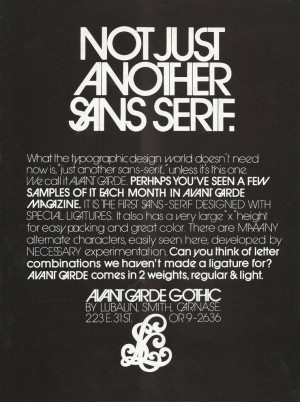 Herb Lubalin, Trade ad, including his font Avant Garde, 1974-77 ...
