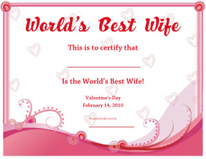 Worlds Best Wife Certificate by MissPowerPoint