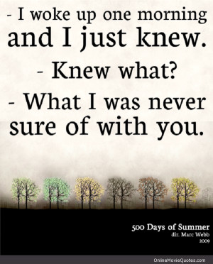 Quote from a scene in the popular 2009 movie 500 Days of Summer ...