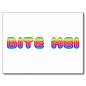 Bite Me 80s 1980s Eighties Funky Slang Post Card
