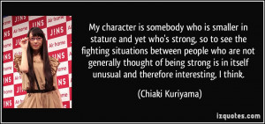 character is somebody who is smaller in stature and yet who's strong ...