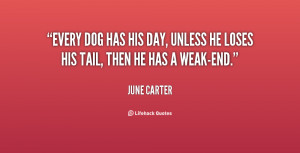 Every dog has his day, unless he loses his tail, then he has a weak ...