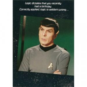 1985 STAR TREK SPOCK BELATED BIRTHDAY GREETING CARD WITH ENVELOPE