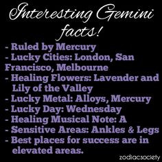 Interesting Gemini Facts! I knew I wanted to go to London. Weird about ...
