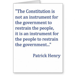 Patrick Henry Constitution Quote Card