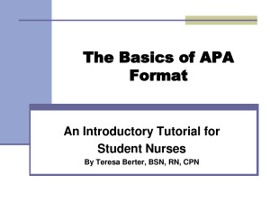 The Basics of APA Format Quote by MikeJenny