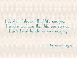 Great quote on joyful service!