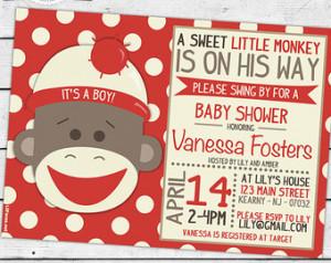 PRINTABLE Sock Monkey Baby Shower C ute Invitation - Invite Card ...