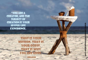 Law of Attraction, That Is Why You Are Here quote, beach antique table