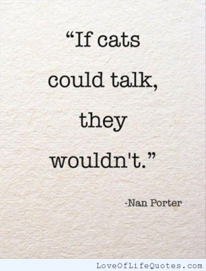 Nan Porter quote on talking cats
