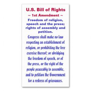 bill_of_rights_first_1st_amendment_business_card ...