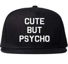 Cute But Psycho Printed Snapback Cap Womens Hat Cap Black Bold White ...