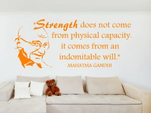 Ghandi Strength does not... Inspirational Wall Decal Quotes