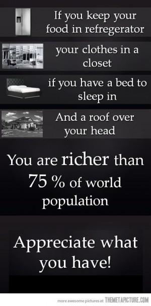 Appreciate what you have…