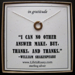 Thank You Gift - Necklace Quote Card - Thank You Card - Shakespeare ...