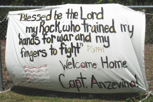 welcome Home banner for a Marine returning from combat in Irag.