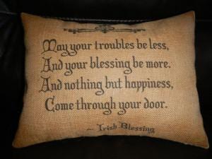 Irish Blessing Burlap Pillow housewarming, hostess gift