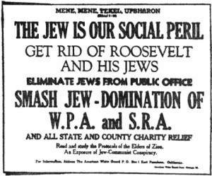 Anti-Semitic anti-Roosevelt handbill issued by the American White ...