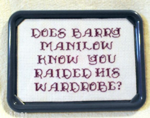 Breakfast Club Barry Manilow Quote Framed Cross Stitch