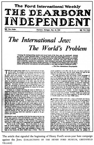 Henry Ford's Newspaper 'Dearborn Independent' Runs Articles on Jewish ...