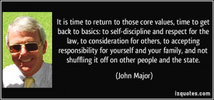 It is time to return to those core values, time to get back to basics ...