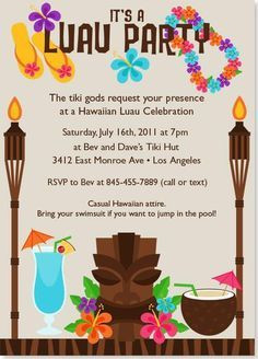 Hawaiian Luau Party Invitation | best stuff