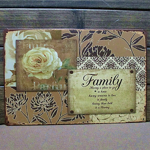 Mike86 ] Quote Family Flowers Metal Tin signs wall decor House ...