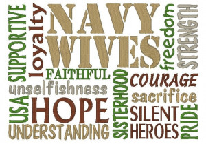 Embroidered Subway Art Sayings Navy Wife