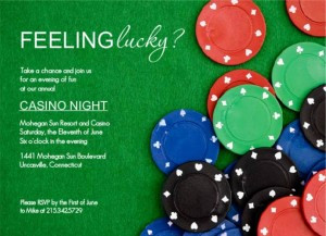 Poker Chips At The Table Poker casino Night Invitation wording