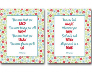 quotes about reading books - set of 2 prints / posters for kids, baby ...