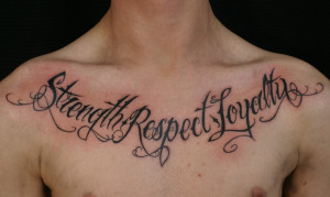 Chest Script Tattoos – Designs and Ideas