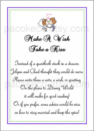CUSTOM LISTING - Wedding Make a Wish Take a Kiss Poem Placard, 2 Jar ...