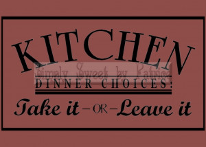 KITCHEN DINNER CHOICE Vinyl Wall Saying Lettering Quote Art Decoration ...