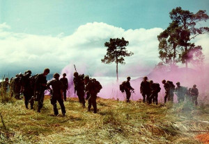 Companies B and C, 1st Bn, 8th Inf, 1st Bde, 4th Inf Div, assemble on ...