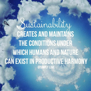 Sustainability creates and maintains the conditions under which ...