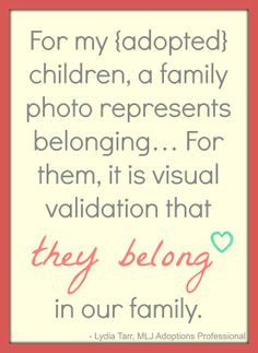 family photo can represent belonging for adopted children. Visual ...