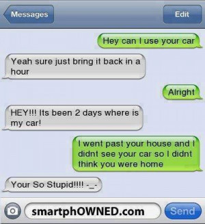 Funny text – Can I use my car