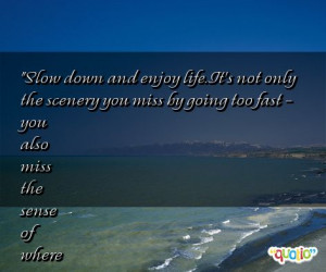 Slow down and enjoy life . It's not only the scenery you miss by going ...