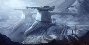 mountains futuristic fortress frozen digital art science fiction ...