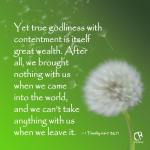 Yet true godliness with contentment is itself great wealth. After all ...